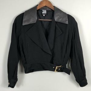 State of Claude Montana Leather Collar Crop Jacket